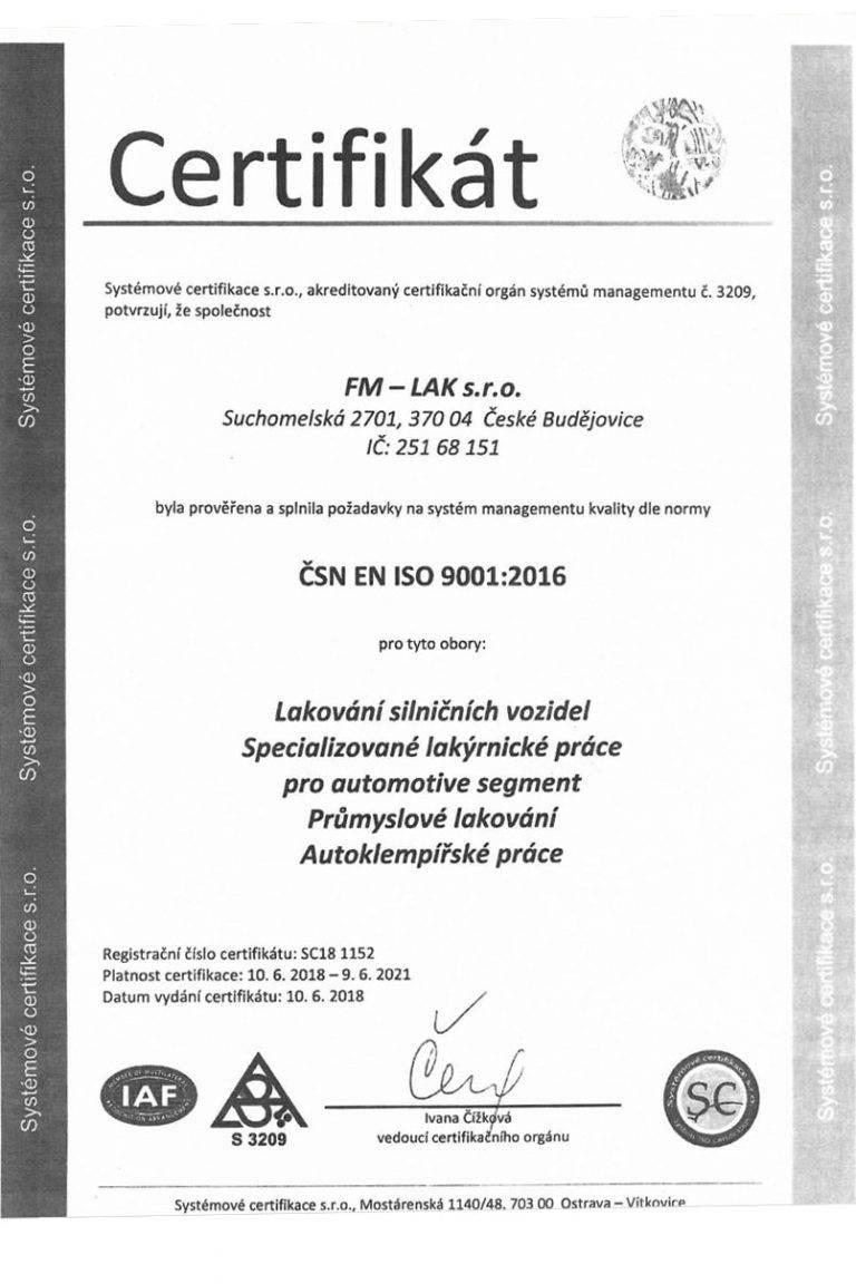 Certifikace ISO 900 2016